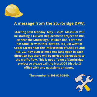 A Message from the Sturbridge DPW