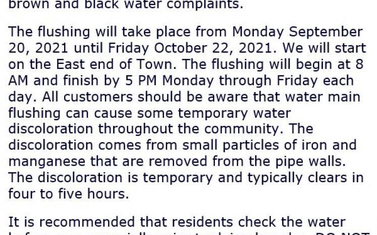 Image of Water Main Flushing text